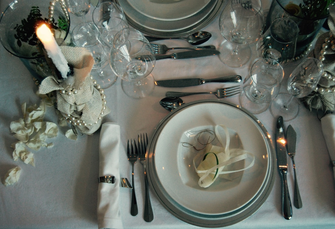 Porcelain and silver cutlery
